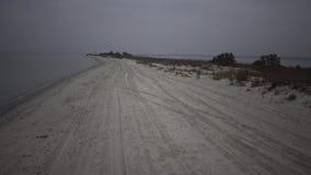 Быстрый управлять автомобилем вдоль песка вдоль пляжа вдоль моря сток-видео
