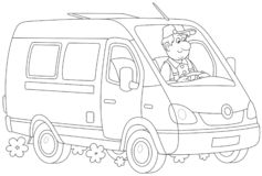 Быстрый фургон поставки иллюстрация штока