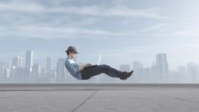 Быстрый levitating бизнесмен Стоковые Изображения