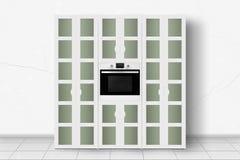 Бытовое устройство - случай кухни и шкаф 2 с печью в f иллюстрация штока