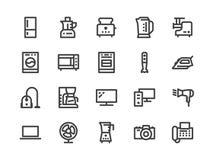 Бытовые приборы, линия значок магазина электроники Стиль иллюстрации вектора плоский Включенные значки как микроволновая печь иллюстрация штока