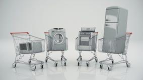 Бытовые устройства в магазинной тележкае Электронная коммерция или он-лайн принципиальная схема покупкы иллюстрация вектора