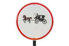 Быть осторожным знака металла лошади кругового Стоковое Изображение RF