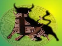 Бычье Bitcoin Стоковые Изображения