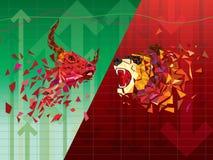 Бычьи и медвежие символы на фондовой бирже vector иллюстрация vector диаграммы валют или товара, на абстрактной предпосылке Sym бесплатная иллюстрация