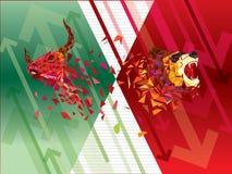 Бычьи и медвежие символы на фондовой бирже vector иллюстрация vector диаграммы валют или товара, на абстрактной предпосылке Sym иллюстрация штока
