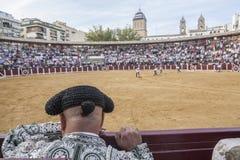 Была выведена деталь отрезка провода, в столетии XIX bullfighters Стоковые Изображения