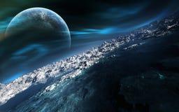 Былинное дистантное небо планеты с рассветом Стоковая Фотография RF