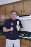 бэтчелор может варящ обед для еды смешного олова человека Стоковое Изображение