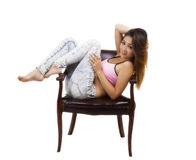 Бюстгальтер спорт азиатских американских джинсов женщины розовый Стоковые Изображения