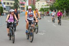 Благотворительная езда велосипеда вокруг города Стоковое Изображение RF