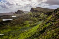 Благоустраивайте взгляд гор Quiraing в острове Skye, шотландский h Стоковое фото RF