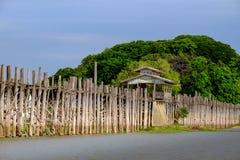 Благоустраивайте взгляд деревянного моста Ubein в Amarapura, Мьянме Стоковая Фотография