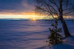 Благоустраивайте эскиз вечера ` s зимы, обозревая озеро Стоковые Изображения RF