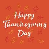 благодарение дня счастливое Поздравительная открытка вектора с листьями осени Стиль нарисованный рукой Стоковые Фото