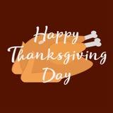 благодарение дня счастливое Поздравительная открытка вектора с зажаренным индюком Стиль нарисованный рукой Стоковое фото RF