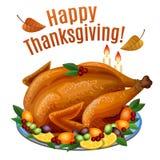 Благодарение Турция на диске с гарнирует, жарит в духовке обедающий индюка иллюстрация вектора