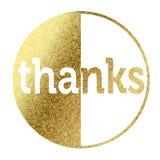Благодарит значок в золотом Стоковое фото RF