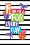 Благодарный для каждый день Иллюстрация вектора для одеяния Стоковая Фотография