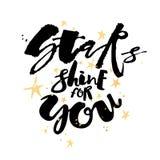 Блеск звезд для вас плакат мотивировки влюбленности Стоковые Фотографии RF
