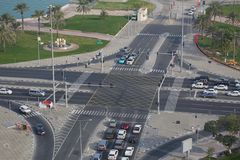 Ближний Восток, Катар, Доха, движение на карнизе Стоковые Изображения