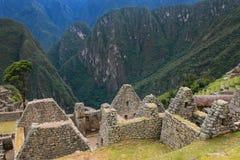 Близкий взгляд руин на цитадели Machu Picchu в Перу Стоковая Фотография RF