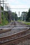 близкий день выравнивает следы железной дороги 2 вверх Стоковые Фото