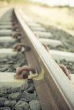 близкий железнодорожный след вверх Стоковые Изображения RF