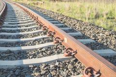 близкий железнодорожный след вверх Стоковые Фотографии RF