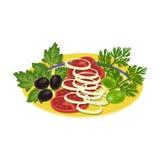 близкий салат снятый вверх по овощу Еда и варить одиночный значок в сети иллюстрации запаса символа вектора стиля шаржа иллюстрация штока