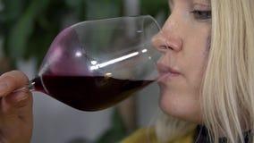 Близкий снимок беременной женщины делая малый глоточек из красного вина акции видеоматериалы