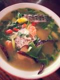близкий суп съемки рыб вверх стоковая фотография