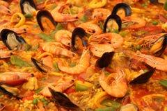 близкий paella вверх Стоковая Фотография RF