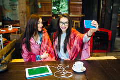 2 близкого друга делают selfie в кафе Стоковое Изображение