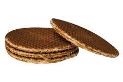 2 близко изолированного waffles при карамелька заполняя Стоковые Фотографии RF