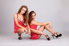 2 близнеца девушек, изолированного на серой предпосылке Стоковая Фотография