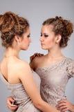 2 близнеца девушек, изолированного на серой предпосылке Стоковое Изображение RF