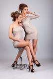 2 близнеца девушек, изолированного на серой предпосылке Стоковое Фото