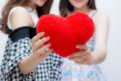 2 близнеца женщины показывая руки сердца подушки holdding Стоковое Изображение