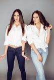 2 близнеца представлять сестер, делая selfie фото, одели такую же белую рубашку, разнообразные друзей стиля причёсок Стоковое фото RF