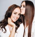 2 близнеца представлять сестер, делая selfie фото Стоковая Фотография RF