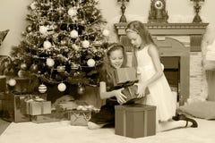 Близнецы девушек с рождественской елкой подарков e Стоковое Фото