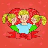 Близнецы дочери поцелуя отца Сердце Любовь Семья вектор иллюстрация вектора