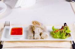 Блинчики с начинкой с свежим салатом и сладостным соусом стоковые фото