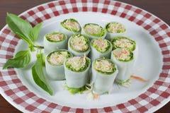 Блинчики с начинкой с скумбрией и мясом тунца, пряным соусом, овощем Стоковые Фотографии RF