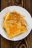 Блинчики с сладостным цитрусом sauce, crepes Suzette Стоковые Фотографии RF