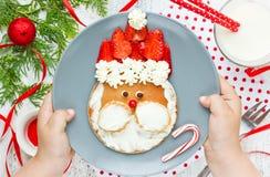 Блинчик Санты - идея для детей, прелестный лоток завтрака рождества стоковое фото