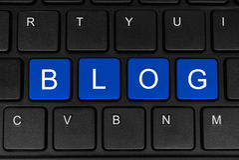 Блог слова сделанный из 4 голубых кнопок Стоковое фото RF
