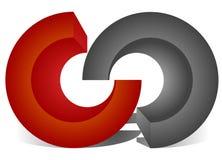 Блокировать круги, блокируя звенит как абстрактное соединение, иллюстрация вектора
