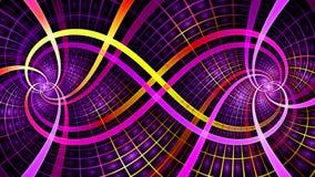2 блокируя спирали создавая символ безграничности с декоративными плитками, всеми в яркое сияющее розовом, красный, желтый цвет Стоковые Изображения RF